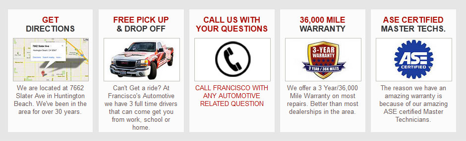 address directions, free pick up & drop off, call for automotive queries, warranty, ASE certification